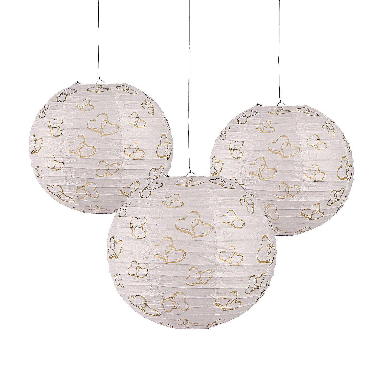 Gold Two Hearts Hanging Paper Lanterns | Paper lanterns, Hanging ...