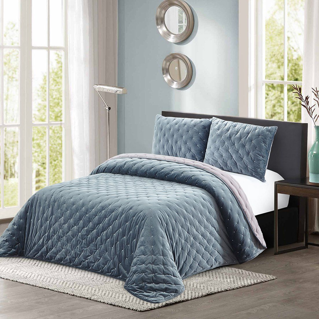 All American Collection New 3 Piece Thick Plush Velvet Coverlet Quilt Set Cal King Size Grey Blue Check Out Th Quilt Sets Quilt Sets Queen Cal King Size What is a coverlet quilt