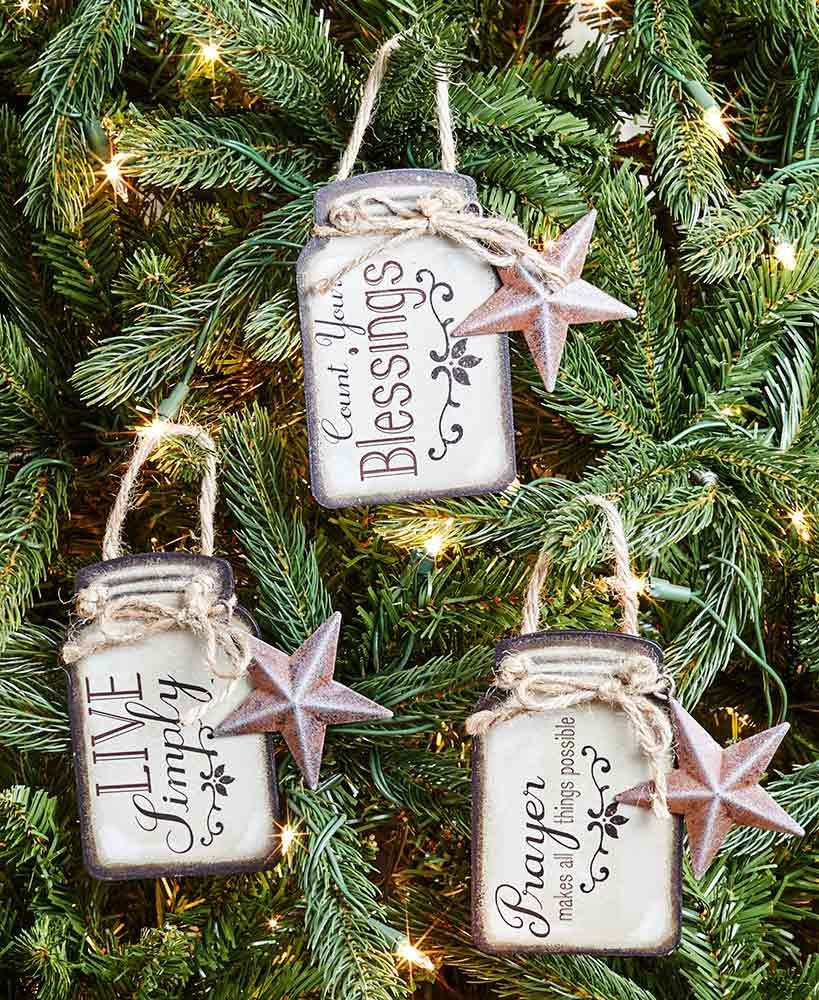 Ltd Commodities Christmas 2019 Sets of 3 Sentiment Mason Jar Ornaments | Holidays  Country