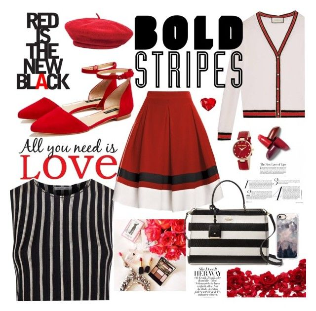 """Bold Stripes 4"" by formikastumblr ❤ liked on Polyvore featuring Brewster Home Fashions, Helmut Lang, Rumour London, Gucci, Kate Spade, Lafayette 148 New York, Casetify, Steve Madden and Brixton"