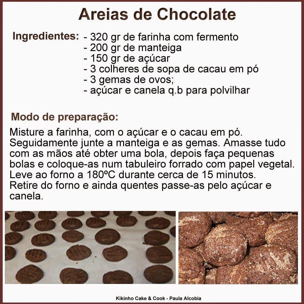 Kikinho Cake & Cook: Biscoito - Areias de Chocolate