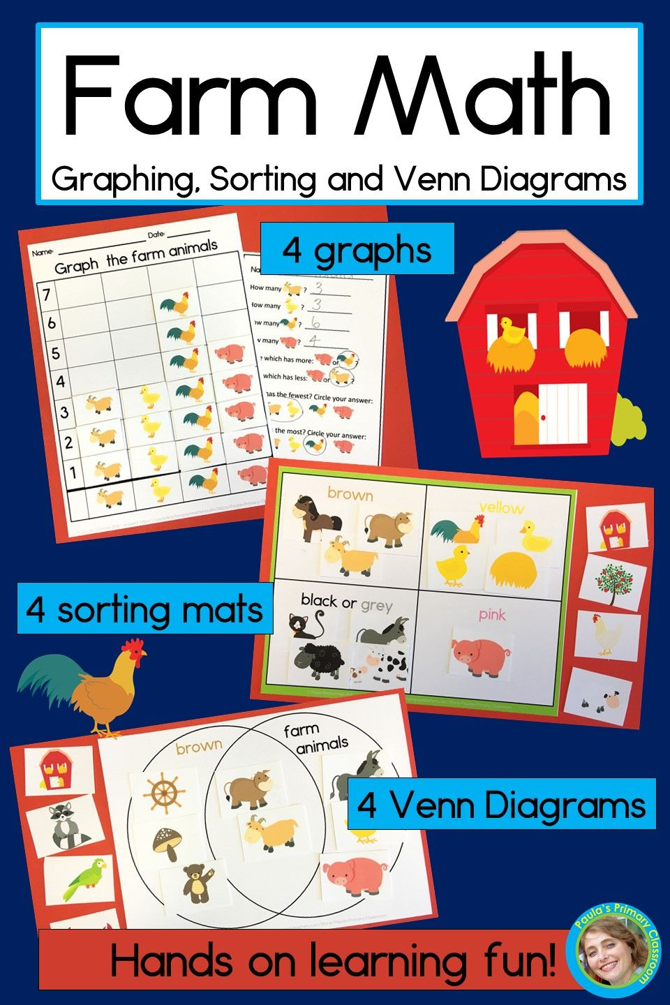 farm math will engage your preschool kindergarten and first grade students in hands on math practice fill your classroom with 12 math centers stations  [ 960 x 1440 Pixel ]