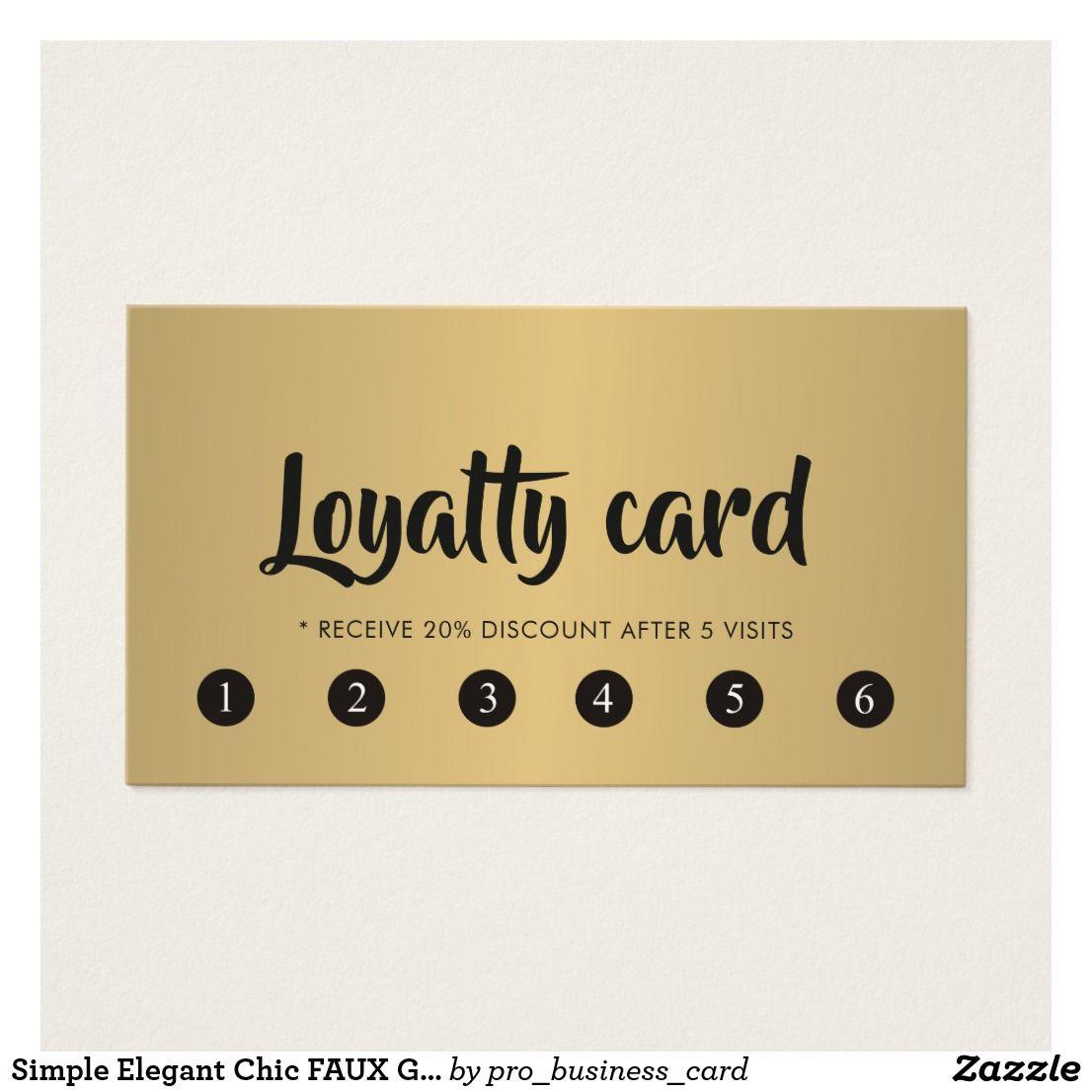 Simple Elegant Chic FAUX Gold Beauty Salon Loyalty  Zazzle.com