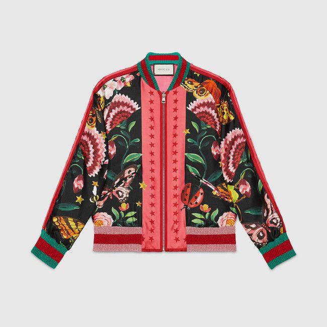 Gucci Gucci Garden Reversible Silk Bomber Blouson Rouge Manteau Veste Mode
