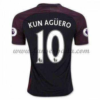 Camisetas De Futbol Manchester City Kun Aguero 10 Segunda Equipación 2016-17