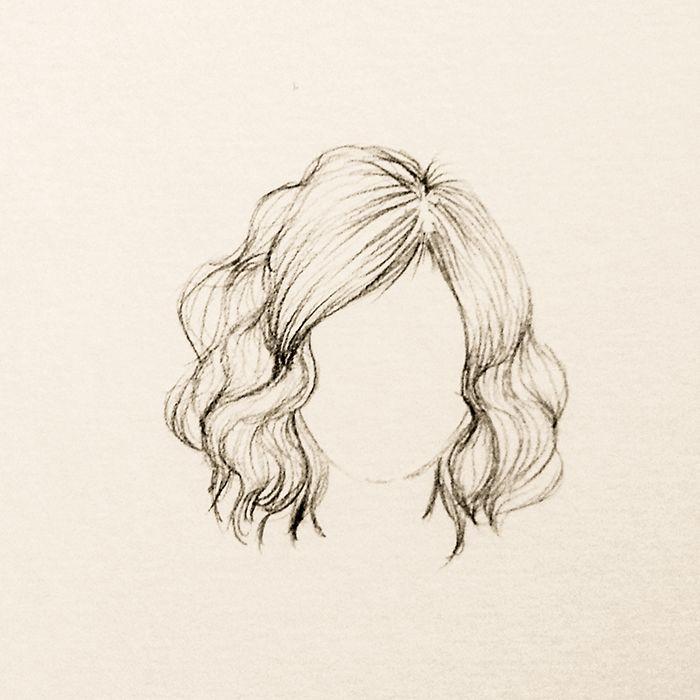 Ondulado Curto E Volumoso Desenho De Cabelo Feminino Desenho