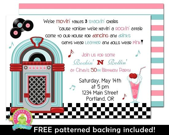 50s Diner Birthday Invitation Sock Hop Party Invitation baby