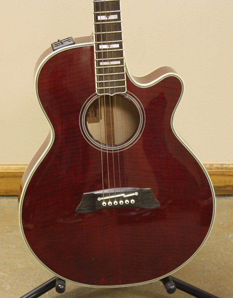 Takamine EF LTD 88 6 String RH Acoustic Electric Guitar Red Flame Maple