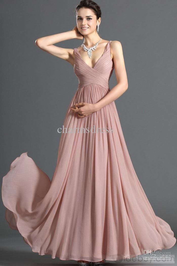 7ca8dee78e831 Dusty Pink Chiffon Dress V-NECK Floor length A-line Evening Prom ...