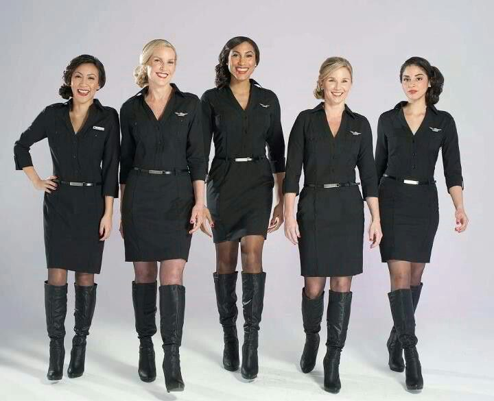 Stewardesses in boots
