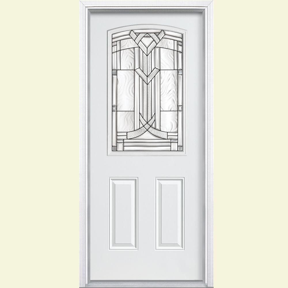 Masonite Chatham Camber Half Lite Primed Steel Entry Door With