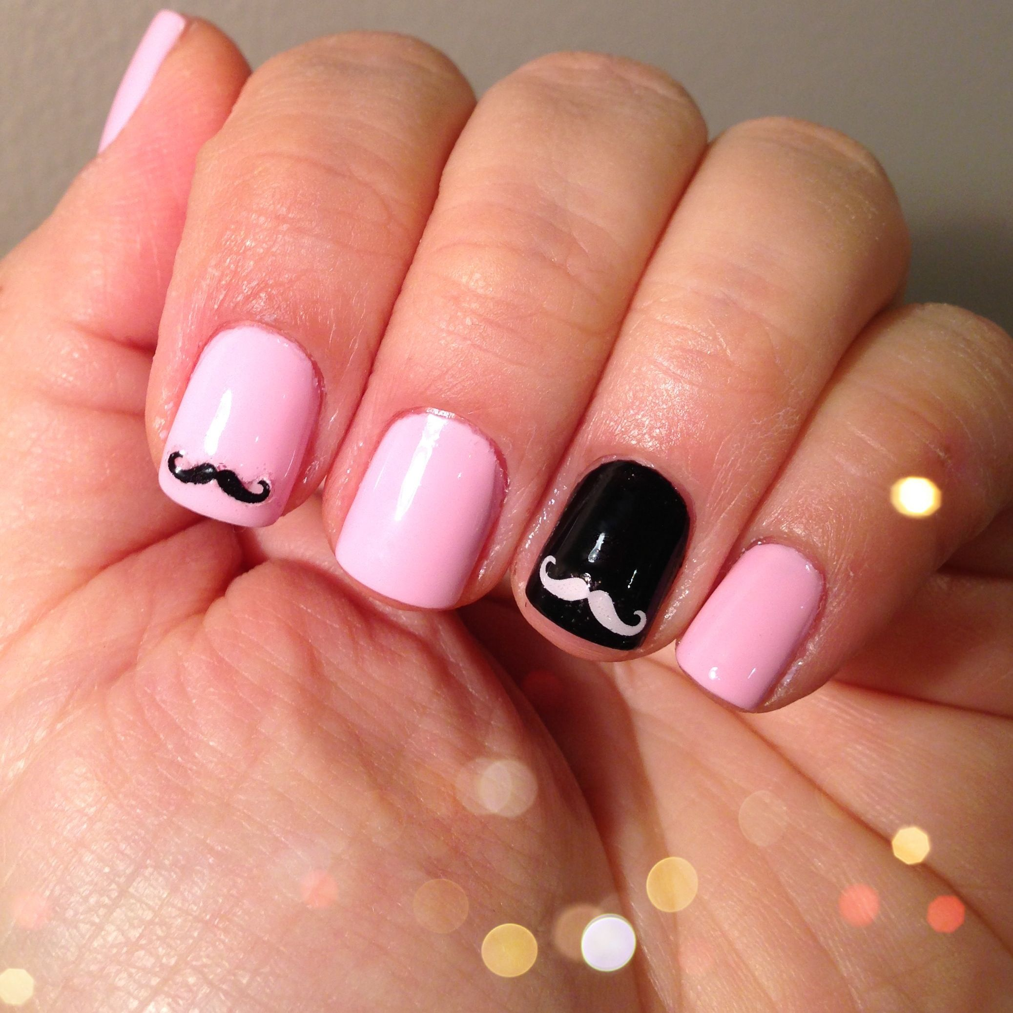 Mustache nails with Essie polish. Mustache stickers from Clairs ...