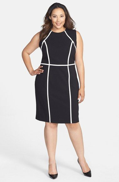 Calvin Klein Contrast Detail Sheath Dress (Plus Size) | Nordstrom ...