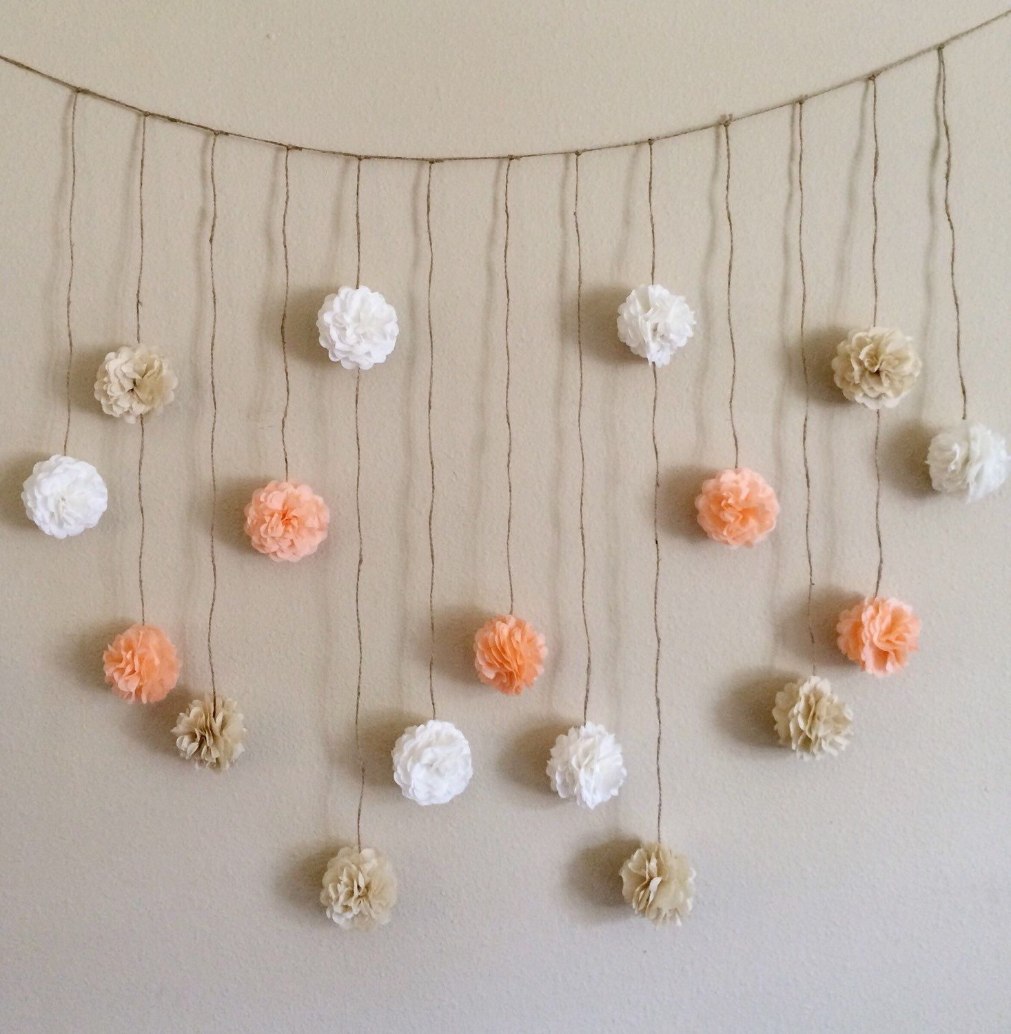 Pom pom garland peach and creams tissue paper flowers wedding pom pom garland peach and creams tissue paper flowers wedding garland diy kit party dhlflorist Choice Image