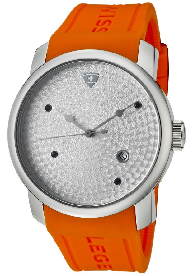 Men's Planetimer Blue Sapphire Silver Guilloche Dial Orange Silicone