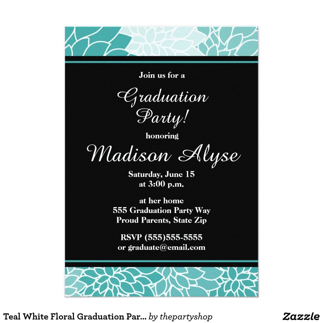 Teal white floral graduation party invitation party invitations teal white floral graduation party invitation filmwisefo Gallery
