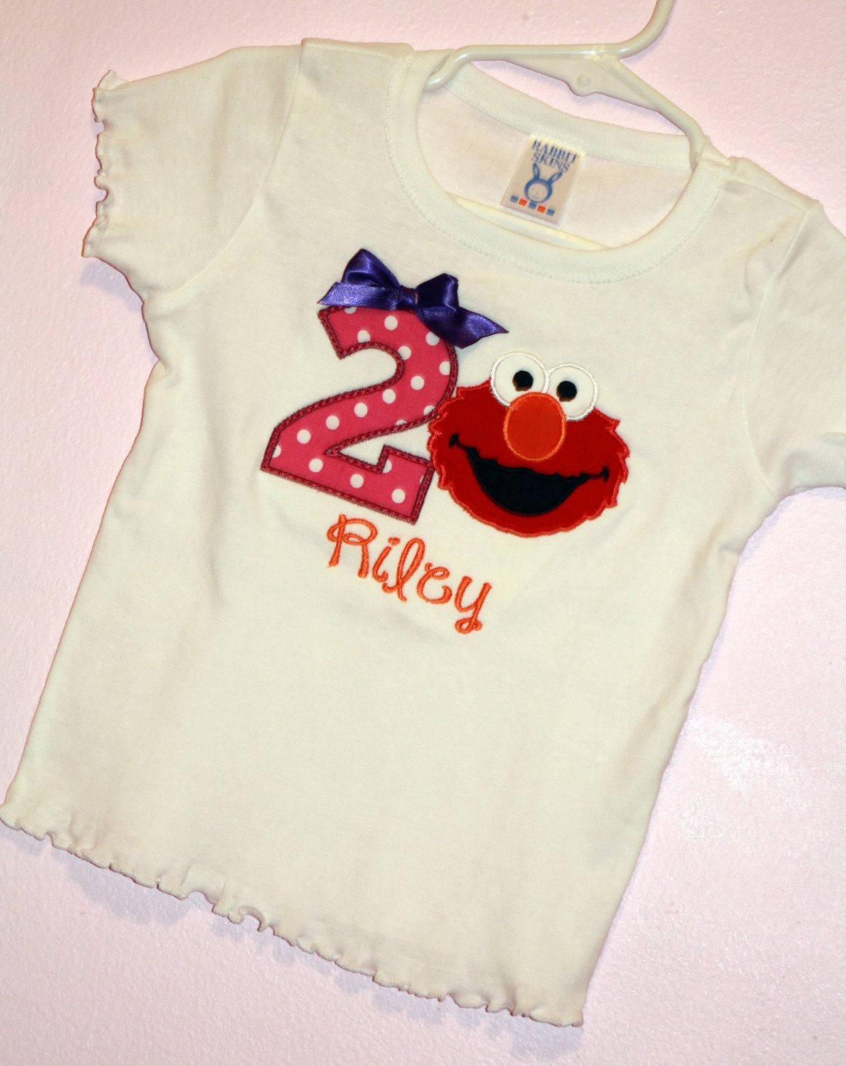 Girls 1st or 2nd Birthday Hot Pink purple and orange elmo onesie Shirt tank or romper Personalized with Name and Age by EverleeBoutique on Etsy