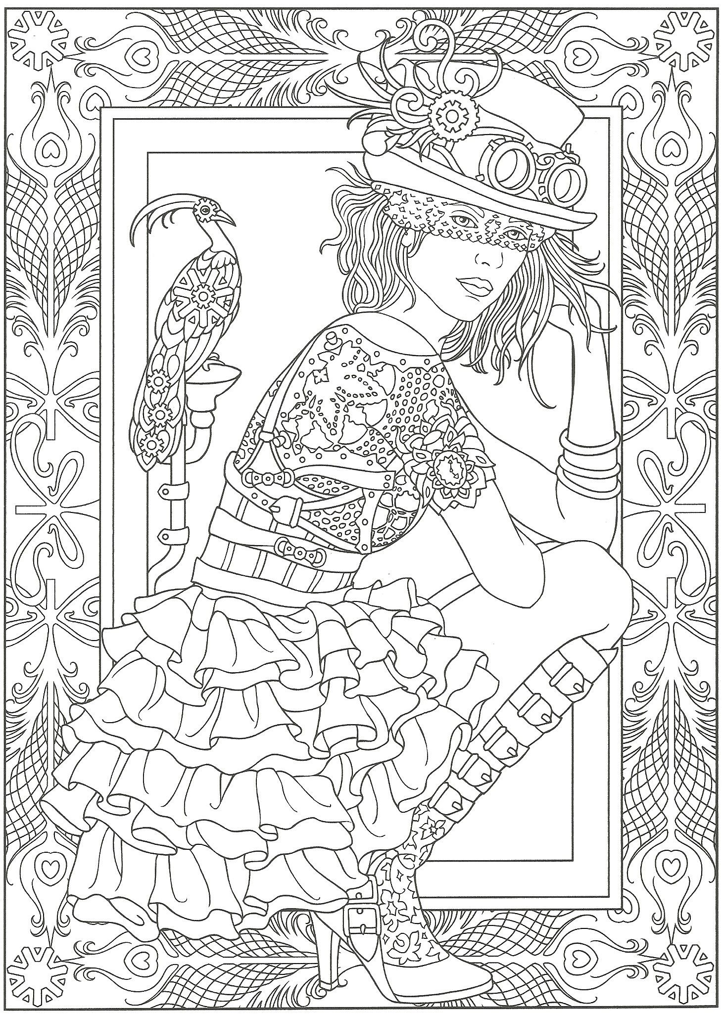 Steampunk. Artwork by Marty Noble. Adult Coloring Page