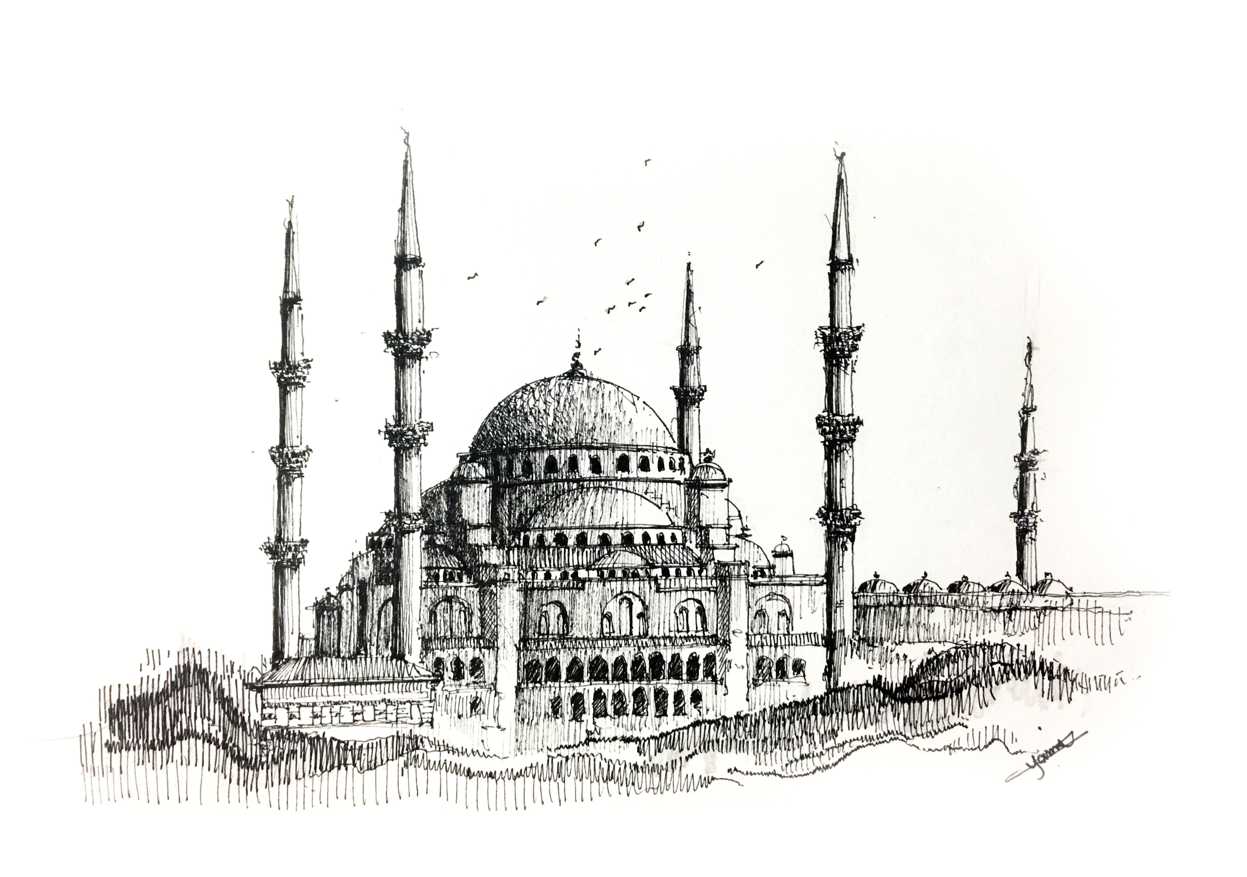 The Sultan Ahmed Mosque Istanbul Turkey Ink Drawing Copyright C 2017 Hossam El Yamani All Rights Reserved Mimari Cizim Taslaklari Resim Camiler