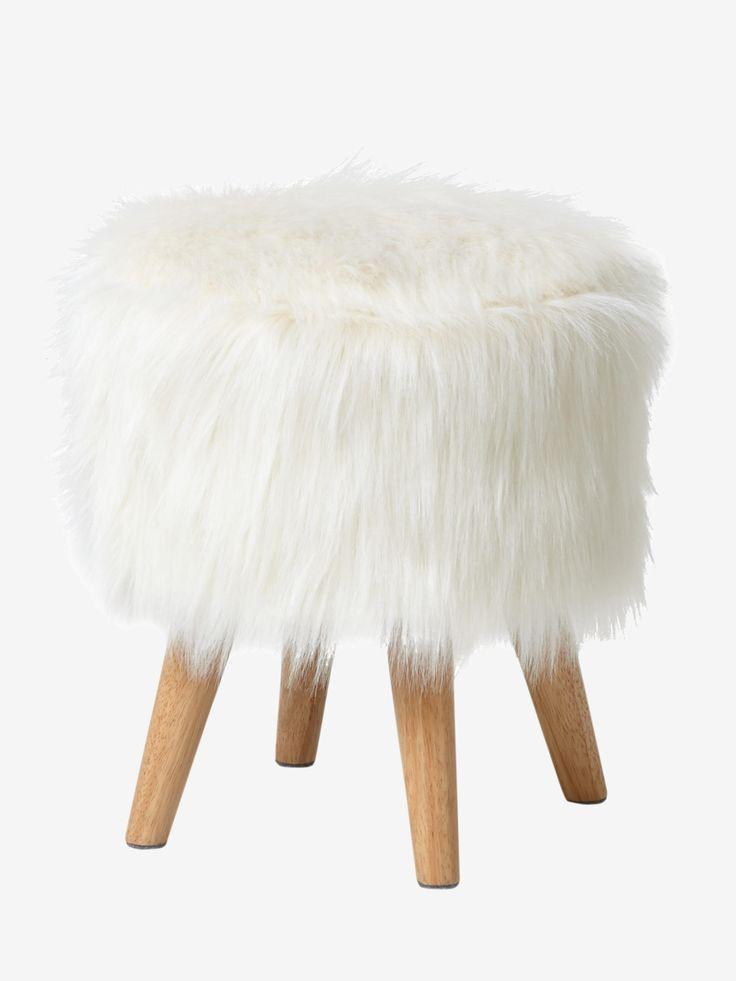 False fur stool white wood with its scandinavian style