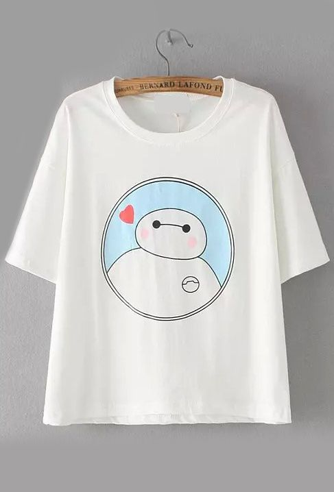 Baymax Print White T-shirt
