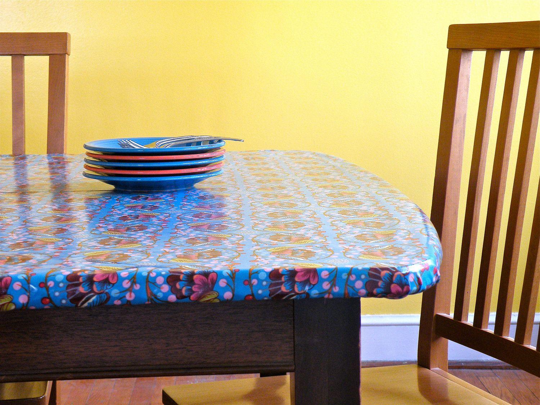 Mosaic Square Tiles Multi PVC Tablecloth Vinyl Oilcloth Kitchen Dining Table