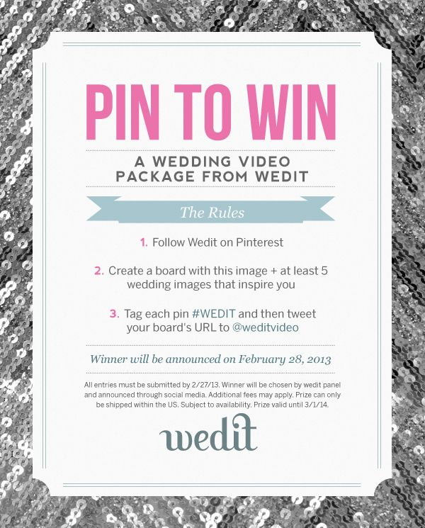 Enter to win a free wedit package now through the end of for Enter now to win