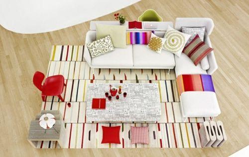 modernes wohnzimmer muster bunt verspielt streifen teppich sofas - teppich wohnzimmer bunt