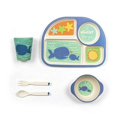 A five piece Whale Set with a large square plate handheld bowl cup  sc 1 st  Pinterest & Bamboo 5-piece Dinner Set - Whale | Square plates Dinner sets and ...