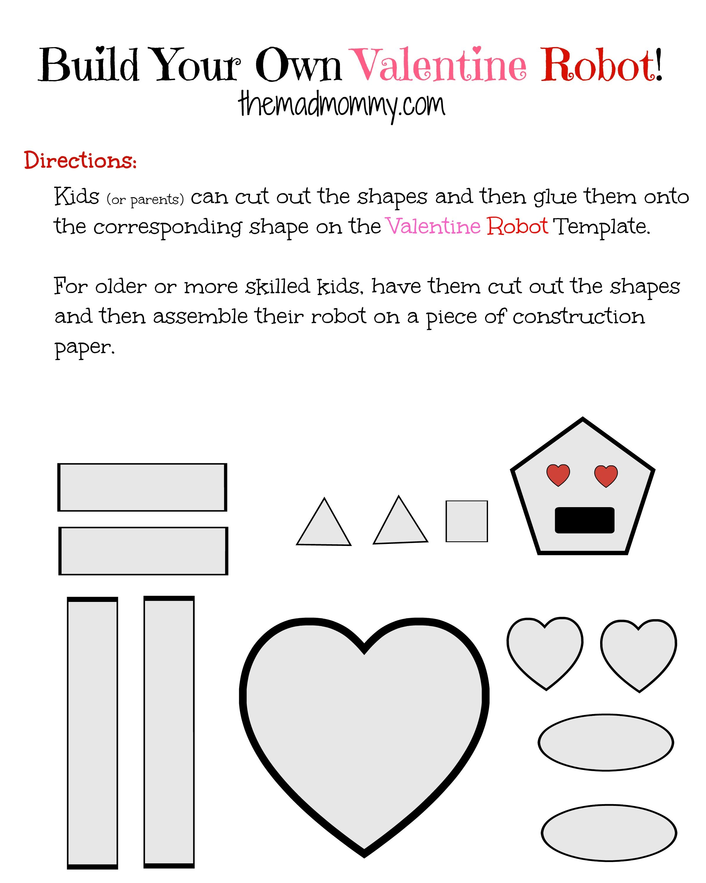 Build Your Own Robot Valentine Printable