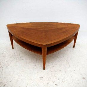 Retro Walnut Triangular Coffee Table Vintage 1960 S Need A Darker Wood Color For My Living Room Now