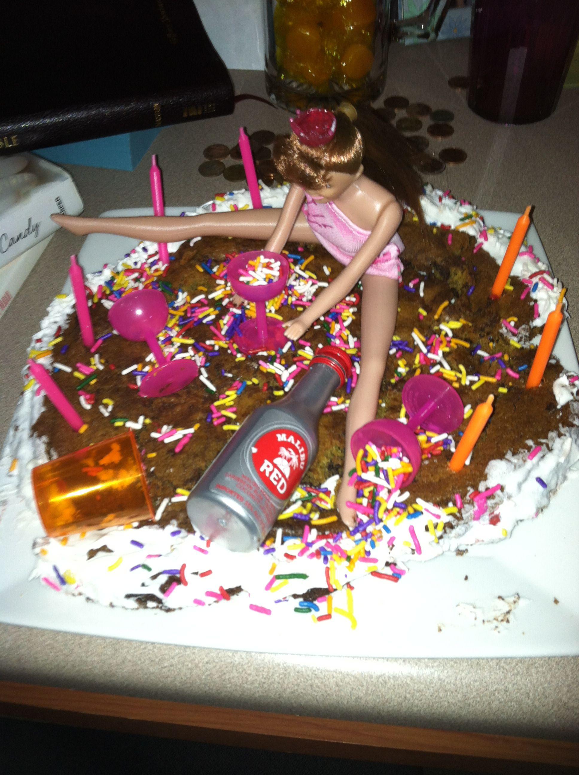 21st Birthday Cake Barbie Malibu Liquor Crazy Cakes Pinterest