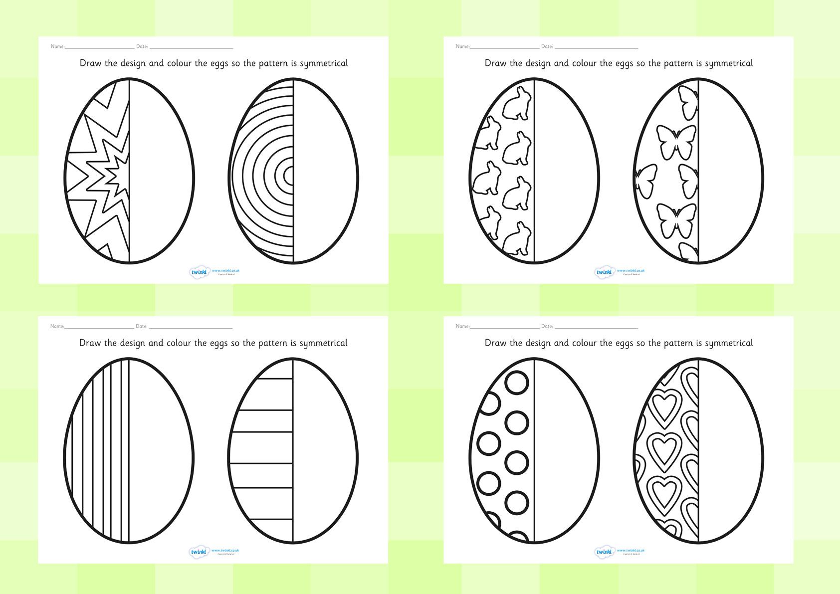 Twinkl Resources Easter Egg Symmetry Sheets Printable Resources For Primary Eyfs Ks1 And Sen Thousands Of Symmetry Math Patterns Symmetry Worksheets