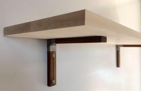 Pair Of Modern Wood And Steel Shelf Brackets Thin Idees
