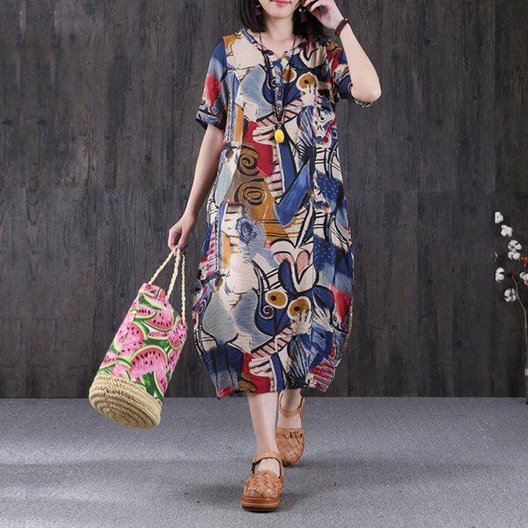 Retro Women Printing Short Sleeves Blue Dress