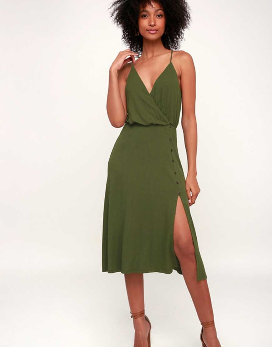 Palm Tree Breeze Olive Green Ribbed Midi Dress Green Dresses Ribbed Midi Dress Dresses Women Dress Collection [ 1110 x 870 Pixel ]