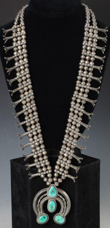 Navajo Squash Blossom Necklace. Rare Native American ...