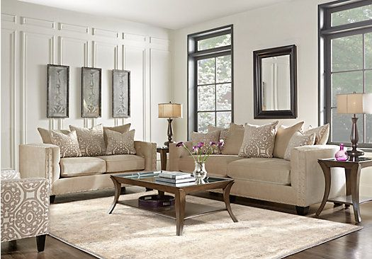 Cindy Crawford Home Sidney Road Taupe 7 Pc Living Room Room set