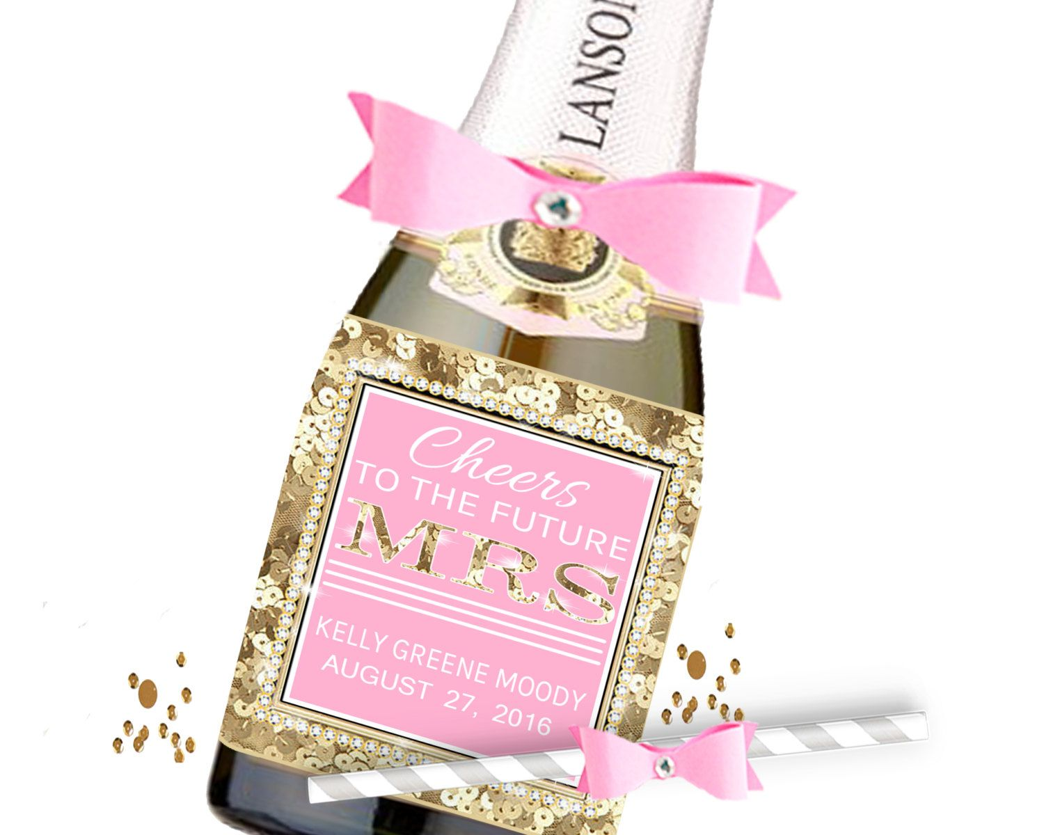 Gold Sequin Cheers To The MRS Wine Label Favors, Pink, Sequin ...