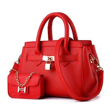 Bolsa+de+Ombro+/+Tote+-+Feminino+-+Baguete+-+Verde+/+Vermelho+/+Cinza+/+Preto+-+PU+–+USD+$+21.90