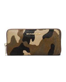 9306454cbe25 MICHAEL Michael Kors Jet Set Travel Zip-Around Camo Continental Wallet