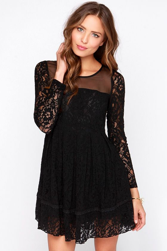 Gurdon Black Long Sleeve Lace Dress Clothes Pinterest Dresses