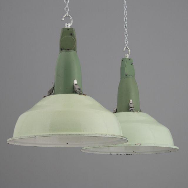 Pair of pastel green soviet industrial pendant shades · cool lightingvintage lightinglighting ideasfactory