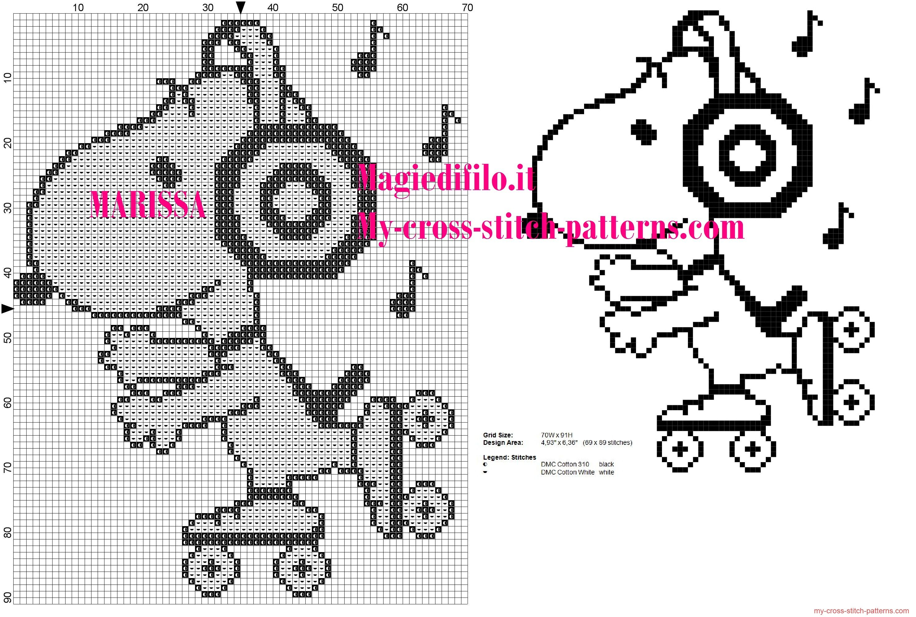 cross stitch pattern Snoopy on skates listening to music ...