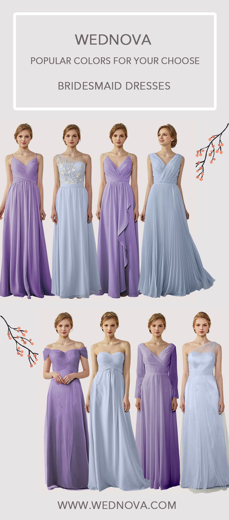 Purple chiffon bridesmaid dress high quality v neck dress with long