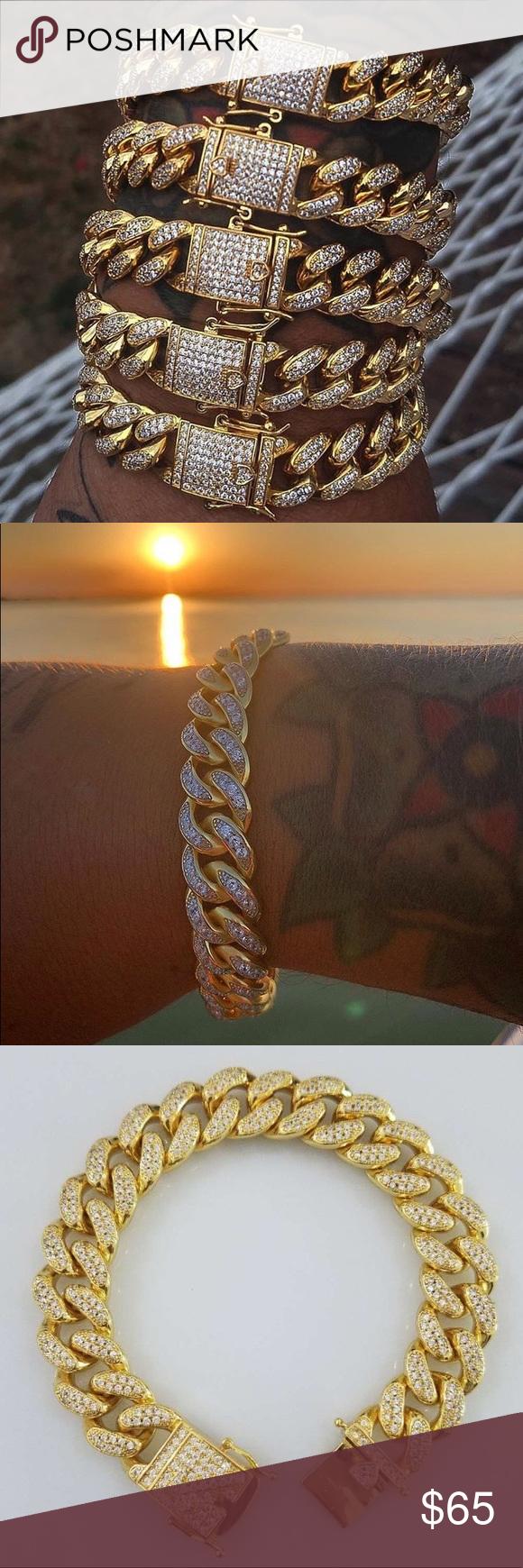 Cuban bracelet k premium gold electroplated lab diamonds