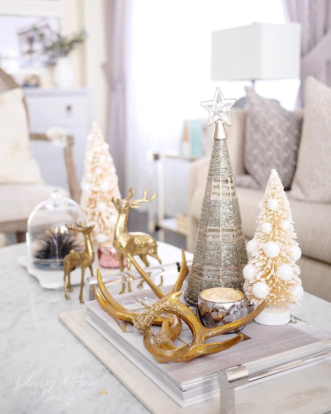 Living room Christmas decor. Christmas coffee table. # ...
