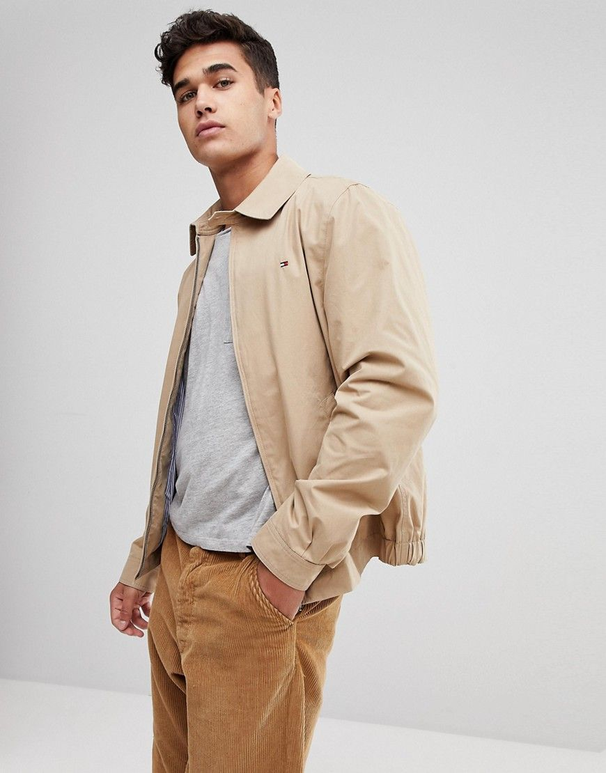 2e6c90179df TOMMY HILFIGER NEW IVY FLAG LOGO HARRINGTON JACKET IN BEIGE - BEIGE.   tommyhilfiger  cloth