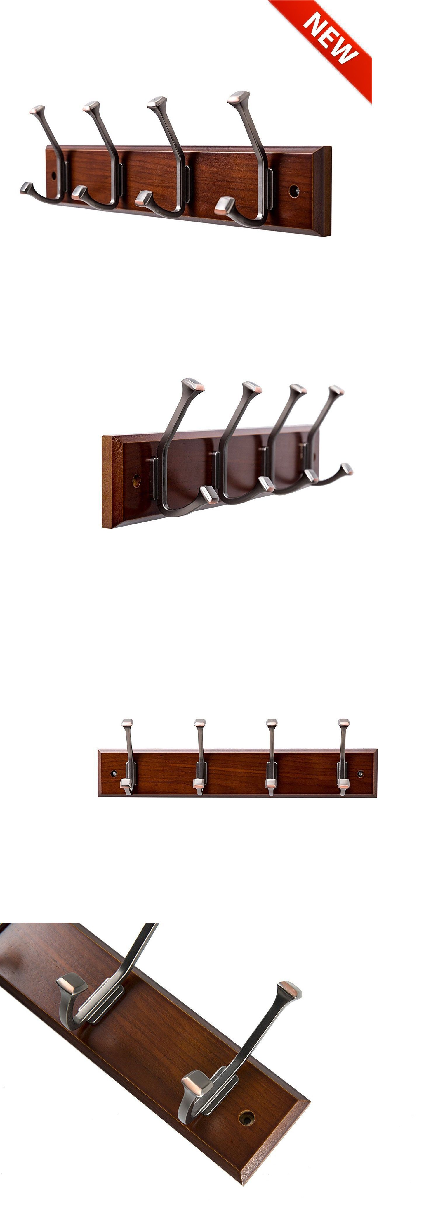 b7b66ccf571 Coat and Hat Racks 22656  Wooden Coat Rack Wall Mount 4 Double Hooks Walnut  Color 16 Rail Modern Entryway -  BUY IT NOW ONLY   17.55 on eBay!