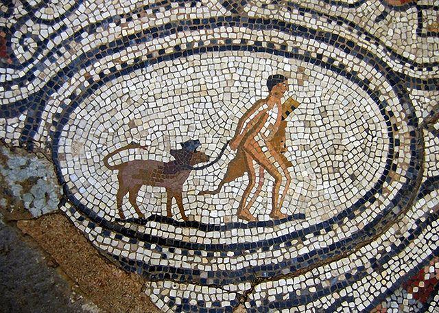 Roman Mosaic. Hercules and Cerberus. Volubilis, Marocco.